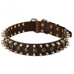 3 Rows Leather Spiked and Studded Belgian Malinois Collar