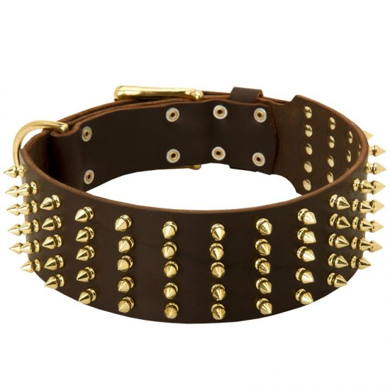 Wide Spiked Leather Belgian Malinois Collar