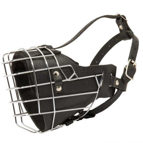 Leather Padded Wire Cage Belgian Malinois Muzzle for Agitation Training