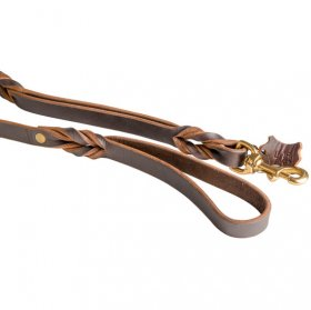 Belgian Malinois Leather Leash With Additional Handle