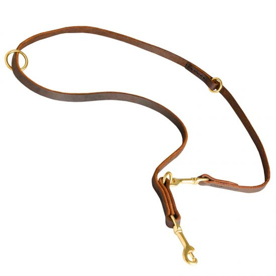Multipurpose Leather Belgian Malinois Leash for Training, Walking and Patrolling