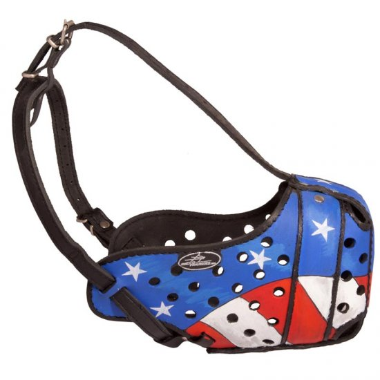 American Pride Handpainted Leather Belgian Malinois Muzzle for Protection Training