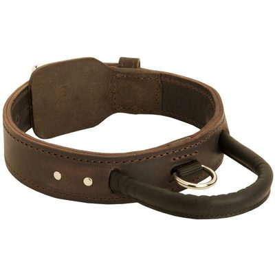 Extra Durable Leather Belgian Malinois Collar with Handle for Attack Training