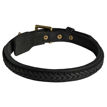Braided Leather Collar for Belgian Malinois