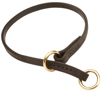 Belgian Malinois Obedience Training Choke  Leather Dog Collar