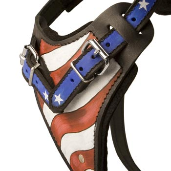 Belgian Malinois Leather Harness With Hand Painted USA  Chest Plate