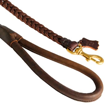 Braided Leather Belgian Malinois Leash with Brass Snap Hook