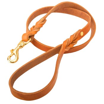 Custom Leather Belgian Malinois Leash Tan-Colored for Dog Walking