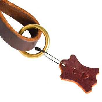 Leather Pull Tab for Belgian Malinois with O-ring for Leash Attachment