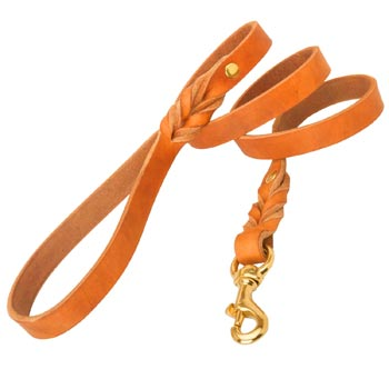 Training Tan Leather Dog Leash Skillfully Studded for Belgian Malinois