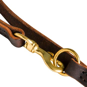 Belgian Malinois Leather Leash with Brass Snap Hook and O-ring