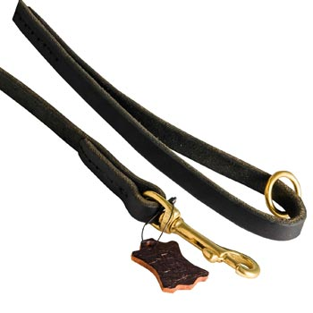 Handmade Leather Dog Leash with Floating O-Ring on The  Handle for Belgian Malinois