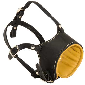 Adjustable Belgian Malinois Muzzle Padded with Soft Nappa Leather for Anti-Barking Training